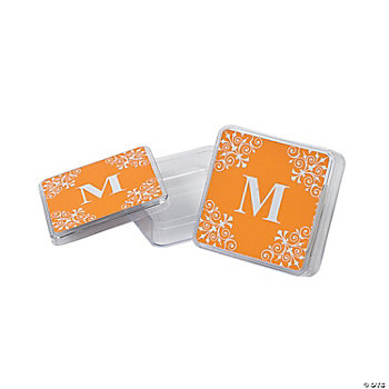 Personalized Orange Monogram Square Containers