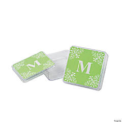 Personalized Lime Green Monogram Square Containers
