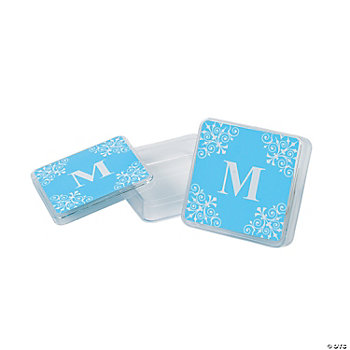 Personalized Light Blue Monogram Square Containers