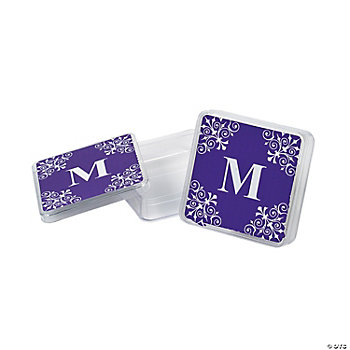 Personalized Purple Monogram Square Containers