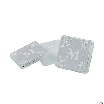Personalized Silver Monogram Square Containers