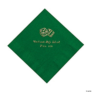 Personalized Casino Green Lunch Napkins