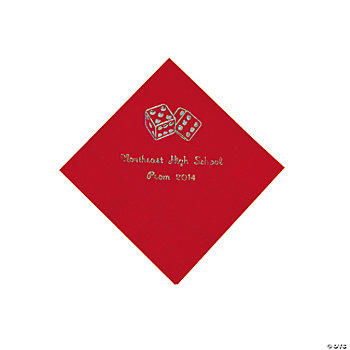Personalized Casino Red Beverage Napkins