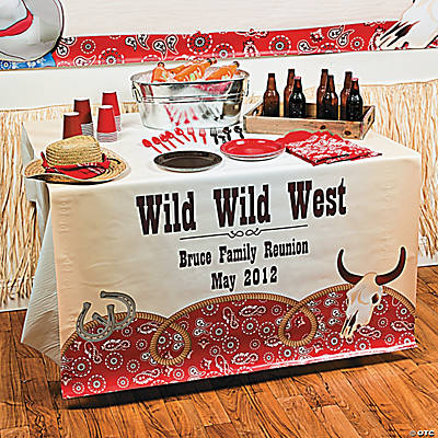 Personalized red bandana table runner oriental trading