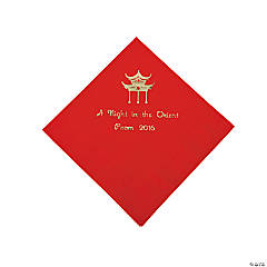 Personalized Red Asian Beverage Napkins