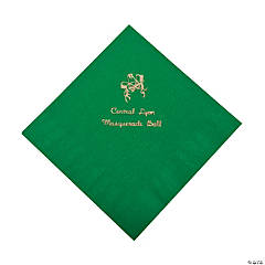 Personalized Green Masquerade Luncheon Napkins
