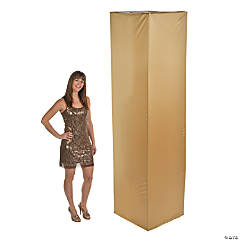 Fabric Square Column Slip Cover - Gold