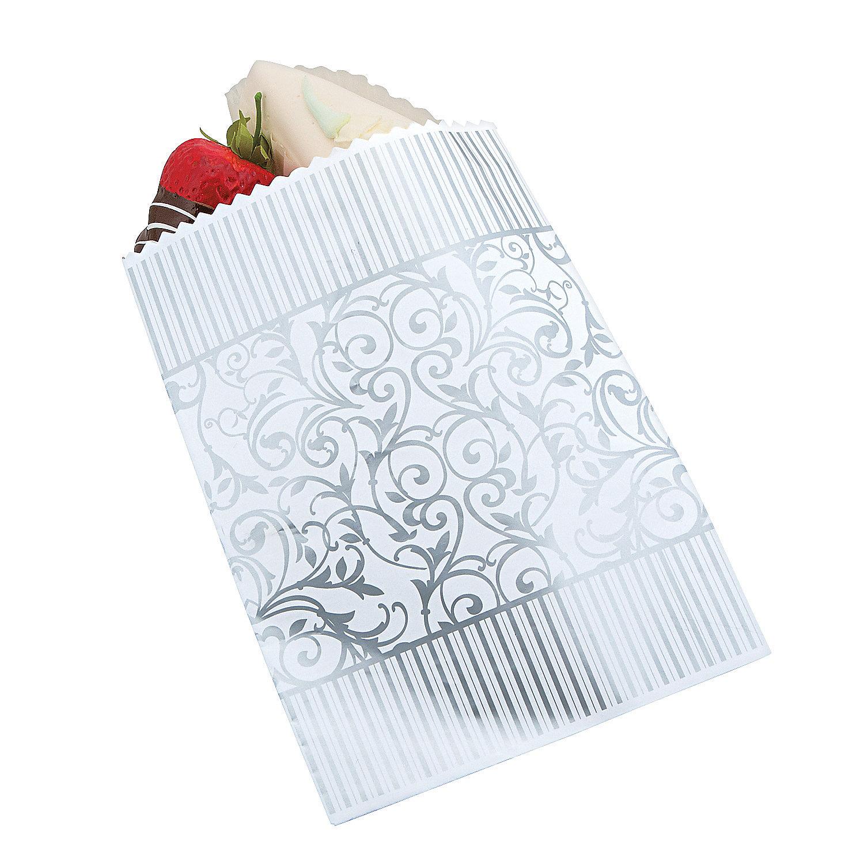silver swirl wedding cake bags oriental trading. Black Bedroom Furniture Sets. Home Design Ideas