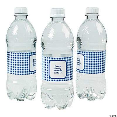 Personalized Blue Gingham Water Bottle Labels