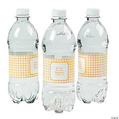 Personalized Yellow Gingham Water Bottle Labels