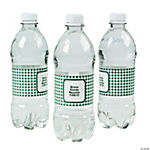 Personalized Green Gingham Water Bottle Labels