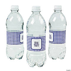 Personalized Purple Gingham Water Bottle Labels