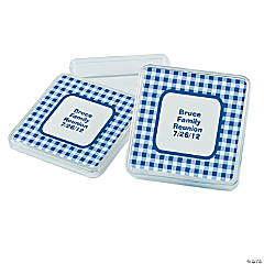 Personalized Blue Gingham Square Favor Containers