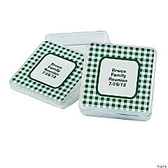 Personalized Green Gingham Square Favor Containers