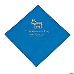 Democrat Blue Personalized Luncheon Napkins with Gold Print