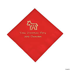 Personalized Democrat Red Beverage Napkins