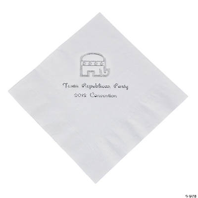 Republican White Personalized Luncheon Napkins with Silver Print