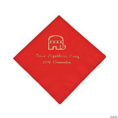 Republican Red Personalized Beverage Napkins with Gold Print