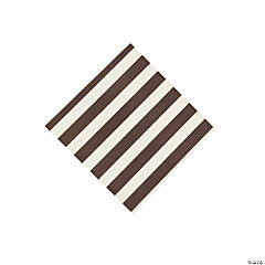 Chocolate Brown Striped Beverage Napkins