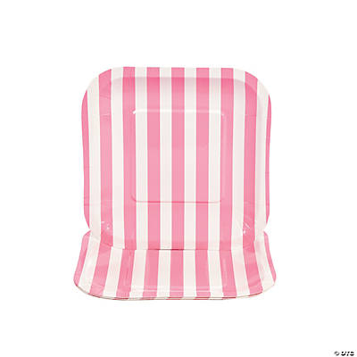 Candy Pink Striped Square Dessert Plates