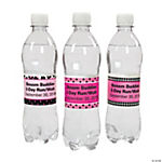 Personalized Pink Ribbon Water Bottle Labels
