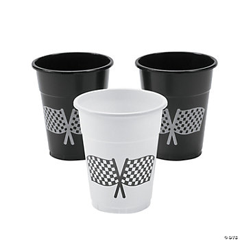 Disposable Plastic Cups With Checkered Flag Design