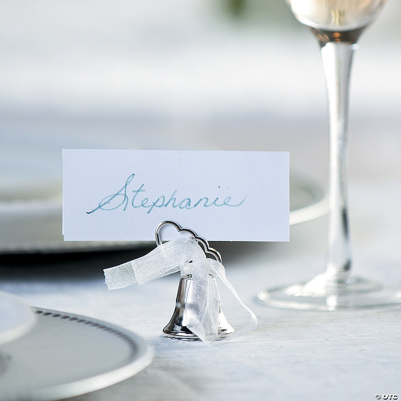 Silvertone Bell Wedding Place Card Holders