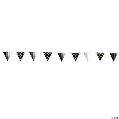 Chocolate Brown Striped & Polka Dot Pennant Banner