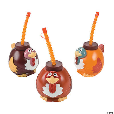 Molded Turkey Cups with Lids & Straws