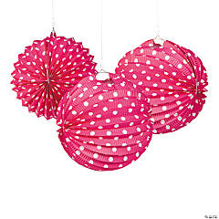 Hot Pink & White Polka Dot Paper Lanterns