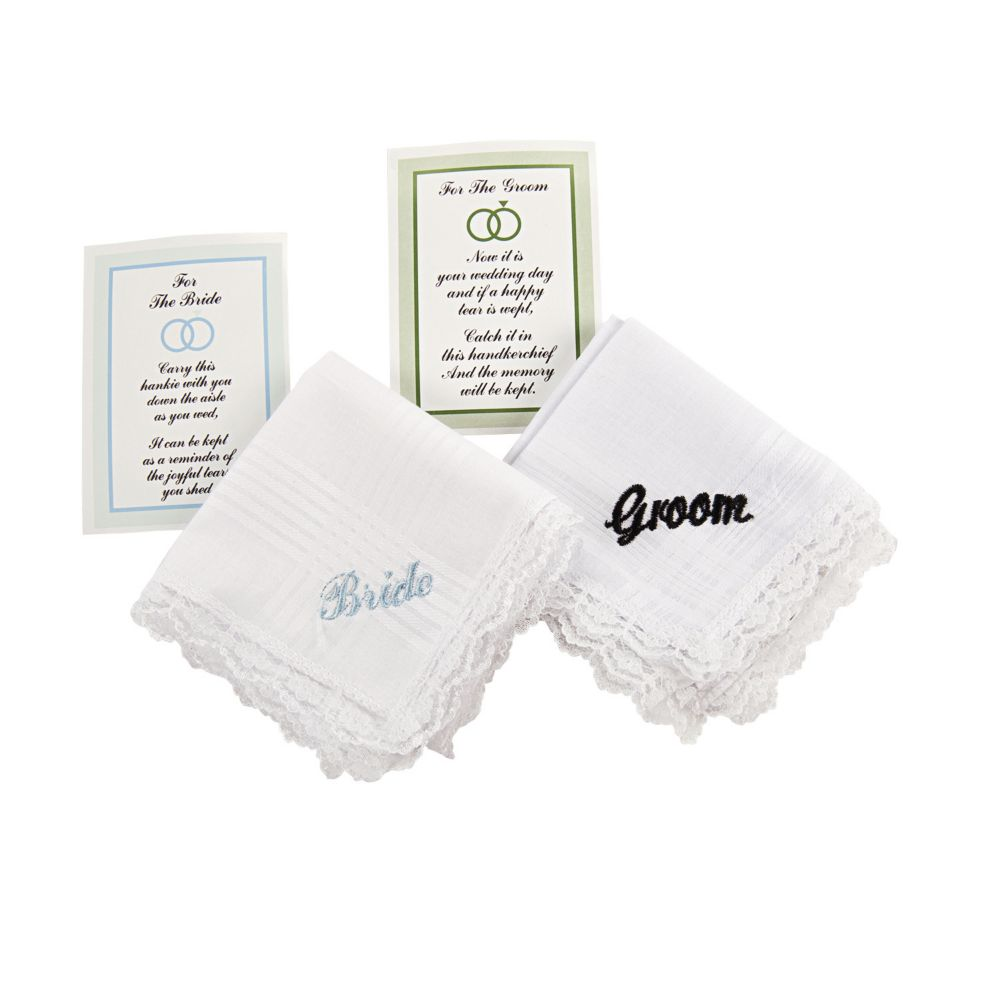 "Embroidered ""Bride"" & ""Groom"" Handkerchief Set"
