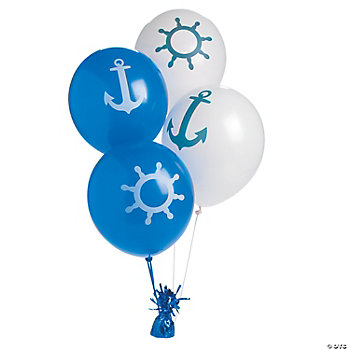 Nautical print latex balloons for Anchor balloon decoration