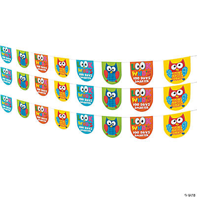 100th Day of School Smarter Pennant Owl Banner