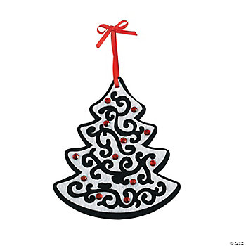 Black & White Christmas Tree Layer Ornament Craft Kit