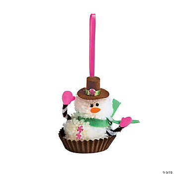 Pom-Pom Snowman Candy Ornament