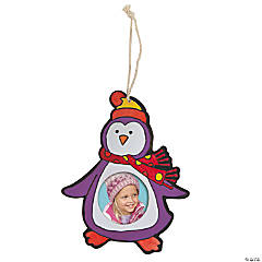 Color Your Own Penguin Photo Frame Ornament