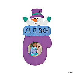 Color Your Own Snowman In Mitten Photo Frame Ornaments