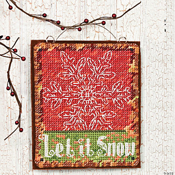 """Let It Snow"" Cross Stitch Ornament Craft Kit"