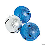 Large Frosted Blue & Silver Jingle Bells
