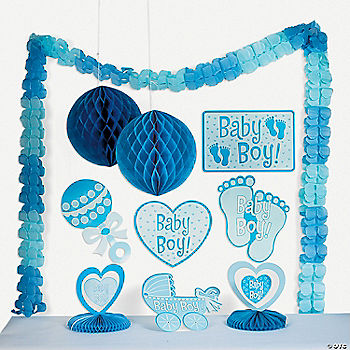 Baby boy shower decorating kit oriental trading for Baby boy shower decoration kits