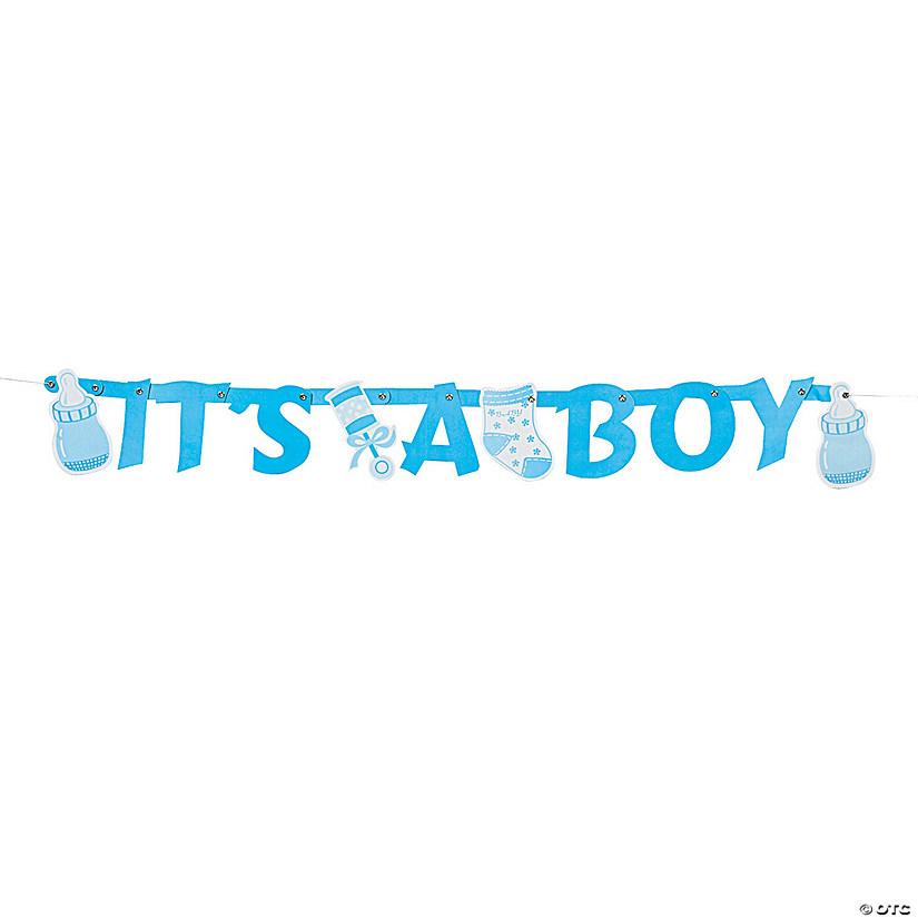 its a boy blue letter cardboard banner