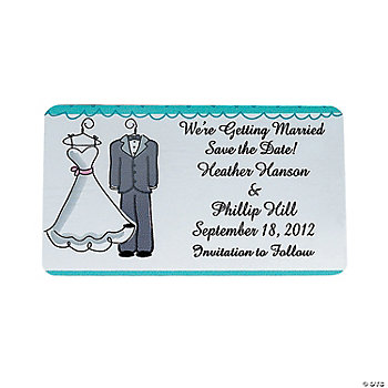"Personalized Wedding Gown And Tux ""Save The Date"" Magnets"