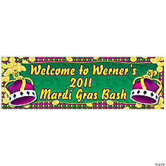 Personalized Mardi Gras Coins & Crown Banner - Large