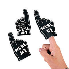 Team Spirit Mini Foam Fingers -Black