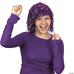 Purple Pom-Pom Tinsel Wig