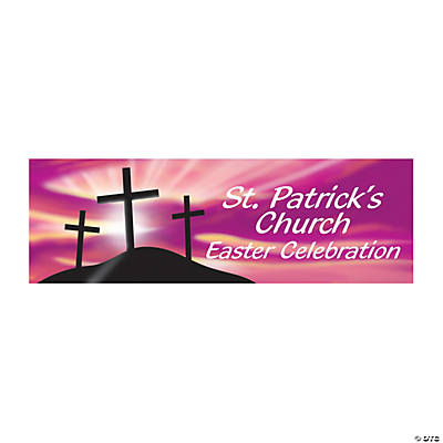 Personalized Religious Crosses Easter Banner - Medium