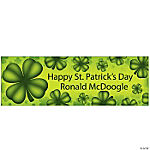 Personalized St. Pat's Four Leaf Clover Banner - Large