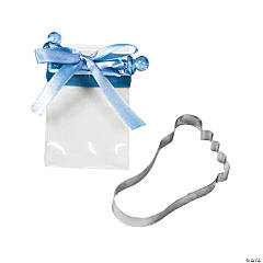 Baby Foot Cookie Cutters with Blue Bow