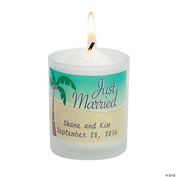 Personalized Beach Wedding Votive Holders