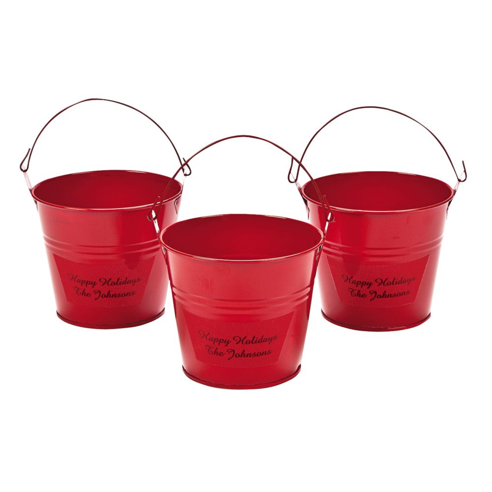 Personalized Red Tin Pails - Valentine's Day & Valentine's Day Boxes